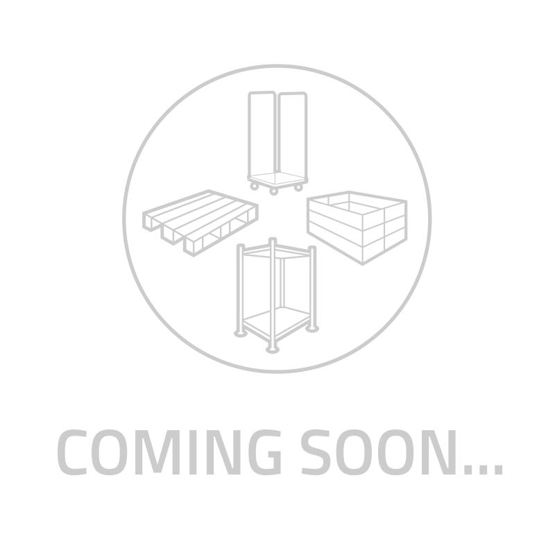 Nestbare rolcontainer kunststof bodem 2 insteekhekken + 2 spanbanden 815x680x1650 mm