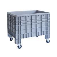 Kunststof palletbox 1200x800x800mm - 4 wielen, gesloten zijwanden en bodem